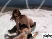 Sexy babes deep see fishing and snowboarding while naked
