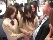 Hungry japanese teens are having gangbang in public place